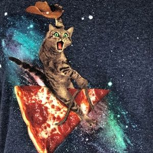 Delta Pro Weight Tops - Cowboy Cat Riding A Pizza Slice Funny Graphic Tee
